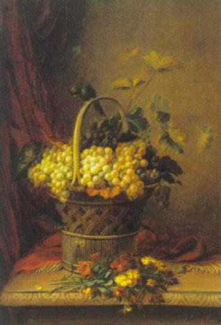 opstilling med kurv druer blomster og fugl by jean baptiste joannes cornillon