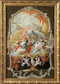 bozetto für deckenfresko mit darstellung der kirchengemeinde in derunteren hälfte, im himmel die heilige dreifaltigkeit vor dem bauplan der kirche by meinrad von aw