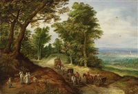 landscape with carts and figures by peter gysels