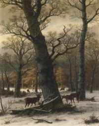 a wooded clearing under snowfall with deer grazing by caesar bimmermann