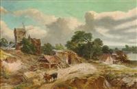 bretonische küstenlandschaft mit alten häusern, ruine und windmühle. figurenstaffage mit kühen by jules achille noel