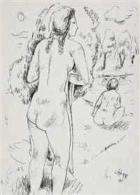 stehender und sitzender weiblicher akt an einem see by georg hans (müller-rehm) müller