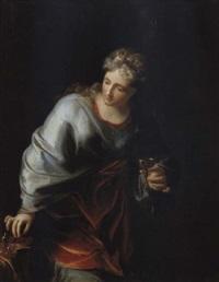 artemisia, königin von karien, mit der urne ihres gemahls mausolos by hendrik van limborch