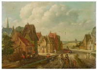 village street with horsemen and peasants by peter gysels