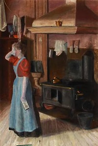 kitchen interior with a woman by oscar gronmyraz