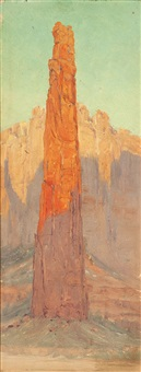 pinnacle rock in canyon de chelly by louis b. akin