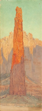 pinnacle rock in canyon de chelly by louis b akin