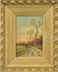man with cart in sunset landscape by charles paul gruppe