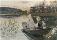 fiske i solnedgången - par i eka by amalia lindegren