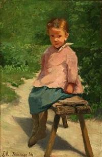 little girl from tåsinge island on a bench by emilie (caroline e.) mundt