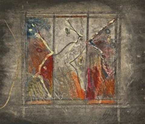 three panes with faces by hugo weber