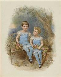 die prinzessinnen elisabeth und auguste von bayern in parklandschaft by franz napoleon heigel