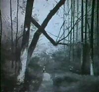 einsame wanderin in waldlandschaft by laurent sabon