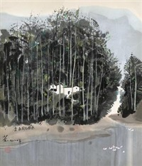 林间小屋 by wu guanzhong