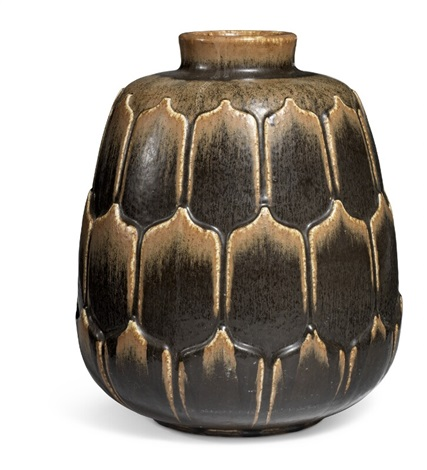 A Large Stoneware Floor Vase Decorated With Dark Brown Glaze With