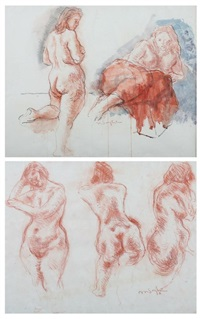 study of female nude and models in studio: two works by moses soyer