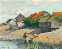 coastal scene with a woman washing clothes by karl johannes andreas adam dørnberger