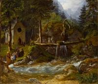 in der ramsau - kirchgänger an einem wilden gebirgsbach by gustav reinhold