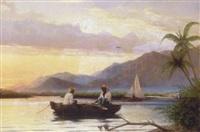 sejlbåd og robåd med to haitianere ud for bjergrig kyst by hans christian koefoed