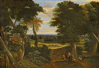 wooded landscape with shepherds and horsemen by jacques d' arthois