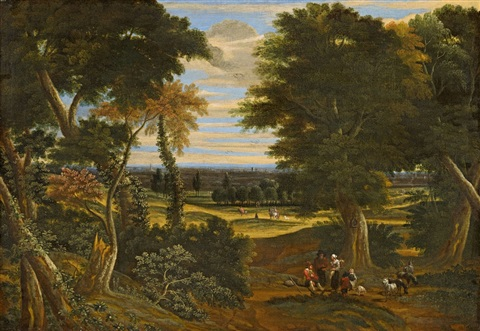 wooded landscape with shepherds and horsemen by jacques d arthois