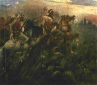 wild reitende arabische krieger vor einer stadt by heinrich maria staackmann