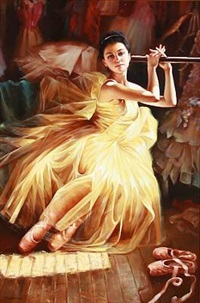 a ballet girl in a yellow dress by alexander akopov