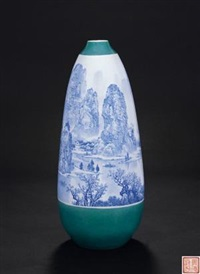 《漓江渔歌》 (overglazed vase with design of li river) by xu huanwen