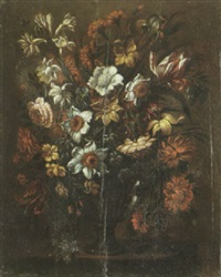 a still life with tulips, carnations, roses and other flowers in a glass vase by andres perez
