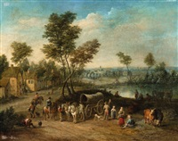 a village scene with a cart, riders and shepherds by flemish school-antwerp (17)