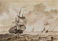 holländischer dreimaster und herringsbüse auf see by adolf van der laan