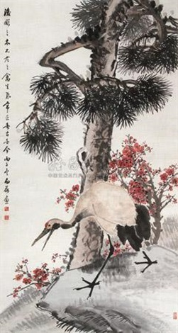 立轴 pine and crane by chen baihe