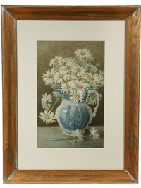 still life of daisies in delft pitcher by percy a. sanborn