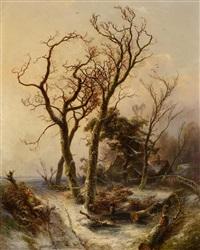 eichen im winterwald by pieter lodewijk francisco kluyver