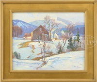 winter landscape with houses and mountains by michael graves