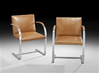 brno chairs, attributed to knoll international, with (pair) by ludwig mies van der rohe