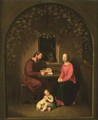 heilige familie in der weinlaube by emilie linder