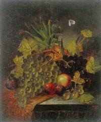 opstilling med vindruer, blommer æble og ananas by w. h. smith