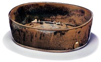 large oval bowl (collab. w/gertrud vasegaard) by myre vasegaard