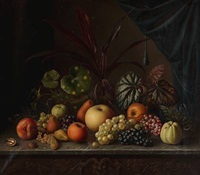 still life with fruit and plants by georges buisson