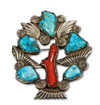 sterling silver turquoise and mediterranean coral pin by dan simplicio