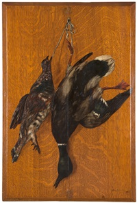 trompe l'oeil - fresh fowl hanging on a wall by william merritt chase