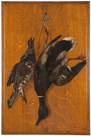 trompe loeil fresh fowl hanging on a wall by william merritt chase