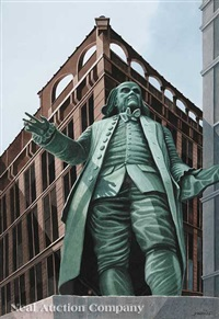 beneath uncle ben (benjamin franklin statue at printing house square, new york city) by rolland harve golden