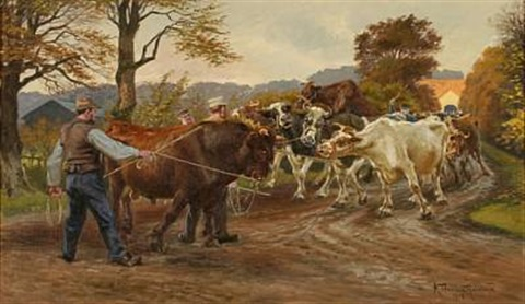 farmers with their cattle on a dirt road by karl frederik christian hansen reistrup