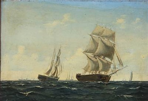 seascape with sailing ships on the sea by daniel hermann anton melbye