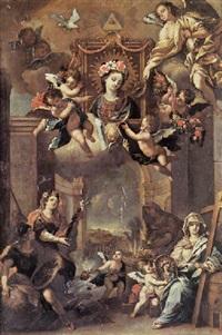 glorifizierung eines heiligenbildes umgeben von einem puttenreigen by bernhard vogel