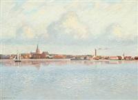 coastal scene at nykøbing mors by johs. v. kristensen