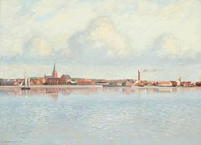 coastal scene at nykøbing mors by johs v kristensen
