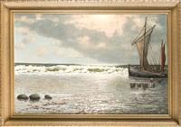 fischerpaar mit ihrem fang am nordseestrand by alexander reich-staffelstein